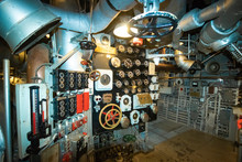 In The Engine Room On The Battleship USS North Carolina, Currently Moored Along The Cape Fear River In Wilmington, NC.