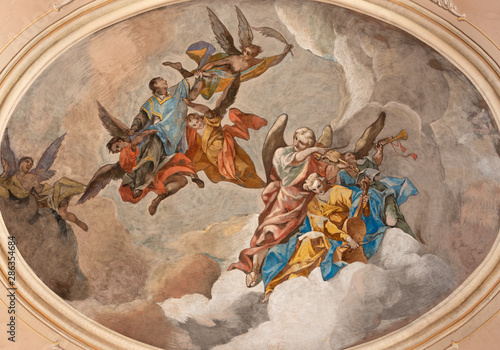 MALCESINE, ITALY - JUNE 13, 2019: The ceiling fresco of Apotheosis of St. Stephen in church Chiesa di Santo Stefano by Odoardo Perini (1750).