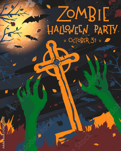 Ingelijste posters Halloween Halloween poster with grunge background,zombie hands,graveyard,full moon,dead trees and bats.Halloween design perfect for prints,flyers,banners invitations,greetings.Vector Halloween illustration.
