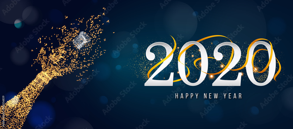 Fototapeta 2020 New Year. 2020 Happy New Year greeting card. 2020 Happy New Year background. 2020 Happy New Year background with gold glitter champagne bottle.