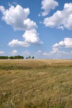 Landscape Of Hills, Trees, Fields, Sky, Sun, Cloud