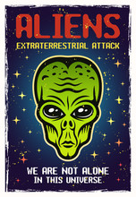 Alien Green Head Colored Vector Poster With Text