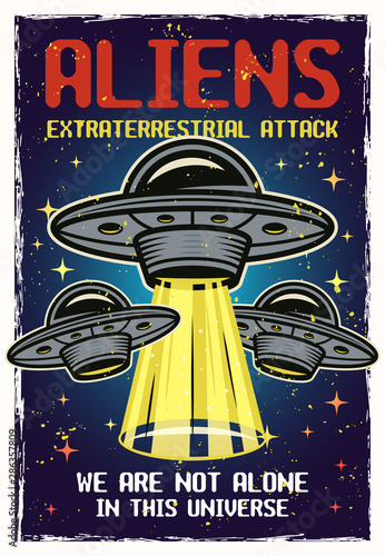 UFO colored vector poster with headline aliens Wallpaper Mural