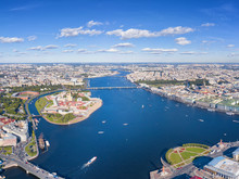 Aerial View Of Peter And Paul Fortress And Neva River In Saint Petersburg, Russia