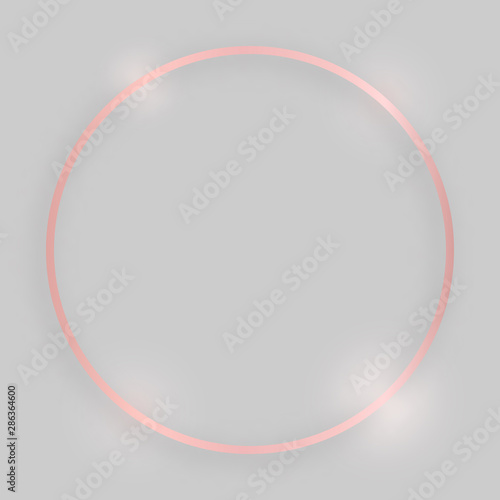 Fototapety, obrazy: Rose gold round shiny frame with glowing effects