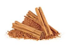 Ceylon Cinnamon Sticks With Powder On A White Background
