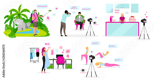Fototapeta Bloggers flat vector illustrations set. Travel, fashion, sports and cooking blog. Filmmakers, influencers streaming video. Social media vlog content. Isolated cartoon character on white background obraz na płótnie