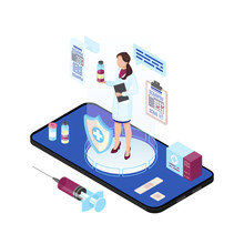 Doctor Present Vaccination Isometric Color Vector Illustration. Flu, Measles Treatment And Health Care Injection. Medical Immunization App On Smartphone, Advertising. Immunologist 3d Concept