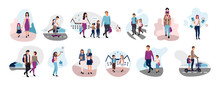 Preteen And Teenage Schoolchildren Flat Vector Illustrations Set. Back To School. Parents With Kids, Schoolmates, Friends Cartoon Characters Isolated On White Background. Schoolboys And Schoolgirls