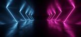 Fototapeta Do przedpokoju - Neon Lights Purple Blue Sci Fi Futuristic Fluorescent Glowing Concrete Grunge Dark Empty Corridor Hallway Tunnel Underground Room Stage Virtual Cyber Laser Beam 3D Rendering