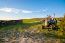 Old Green Tractor On A Meadow. Agricultural Farm.