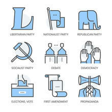 Politics And Parties Related, Square Line Color Vector Icon Set For Applications And Website Development. The Icon Set Is Pixelperfect With 64x64 Grid. Crafted With Precision And Eye For Quality.