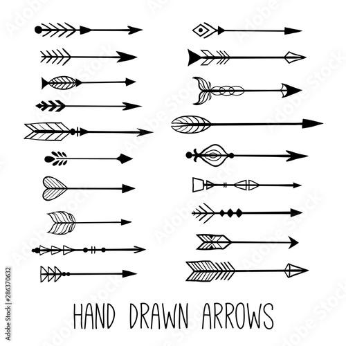 Foto auf AluDibond Boho-Stil Hand drawn vintage arrows