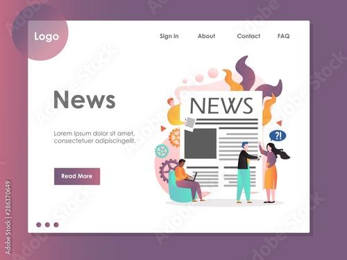 News vector website landing page design template
