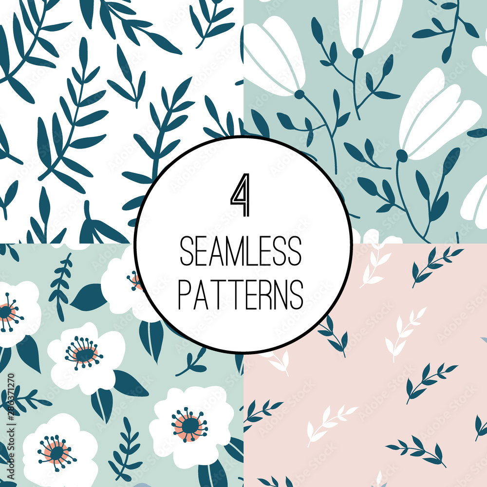 4 Seamless pattern set with hand drawn flowers