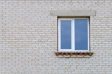 Industrial White Brick Wall With Window.