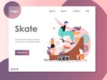 Skate Vector Website Landing Page Design Template