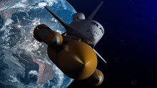 Space Shuttle In Space. Planet...