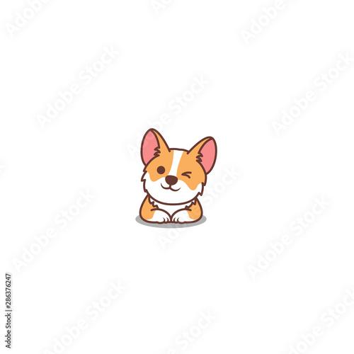 Tablou Canvas Cute corgi dog winking eye, vector illustration