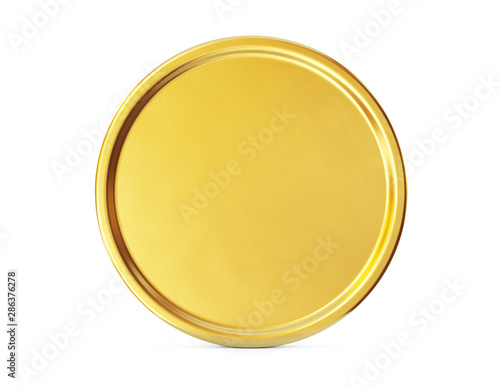 Fototapeta Gold coin sign isolated on a white backgrond. Clipping path included. 3d illustration obraz