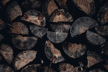 Winter Firewood Store For Kindling The Stove Background Of The Ends Of The Tree