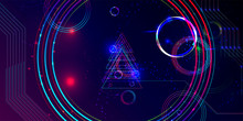 Neon Techno Christmas Tree Science Space Abstraction Background. Cosmos Blue Dark Retro Futuristic 3d Starry Sky Glowing Galaxy And Planets Blue