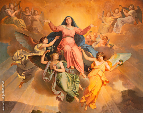 RIVA DEL GARDA, ITALY - JUNE 13, 2019: The part of the painting Assumption in church Chiesa di Santa Maria Assunta by Giuseppe Craffonara (1830).