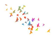 Multi-colored Birds. A Flock Of Flying Rainbow Birds. Vector Illustration