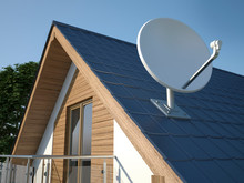 Satellite Dish On Roof, 3D Ill...