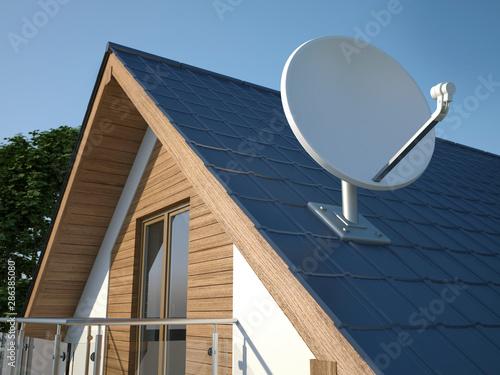 Photo Satellite dish on roof, 3D illustration