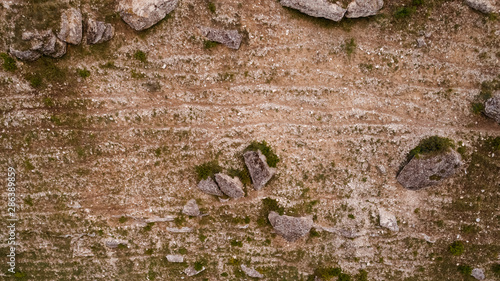 Aerial view of a rock and abrupt valley. Canvas Print