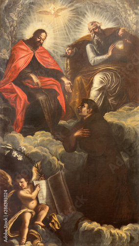 ARCO, ITALY - JUNE 8, 2018: The painting of St. Anthony of Padua and Holy Trinity in the church Collegiata dell'Assunta by unknown artist.