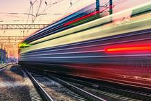 Passenger Train Moves Fast At ...