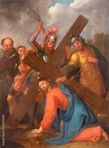 ARCO, ITALY - JUNE 8, 2018: The painting of Fall of Jesus under the cross (Cross way station) in the church Collegiata dell'Assunta by unknown artist.