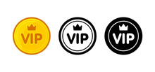 Vip Icon Set: Golden Color, Bl...