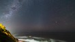 Zodiacal Light and Milky Way timelapse, an amazing view of the night sky setting above the sea infinite horizon. The weak Zodiacal Light is visible at the west just after sunset on clear skies. Chile