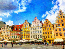 Oil Painting View Of Wroclaw City In Poland. Travel In Europe Scene. Old Architecture And Town Elements. Large Print For Design Paper Or Canvas. Wall Art Contemporary Impressionism Decoration.