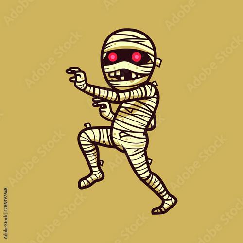 Valokuva Mummy halloween character vector illustration