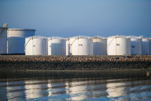 Fuel And Oil Storage Tanks Along The Water At The Port Of Le Havre