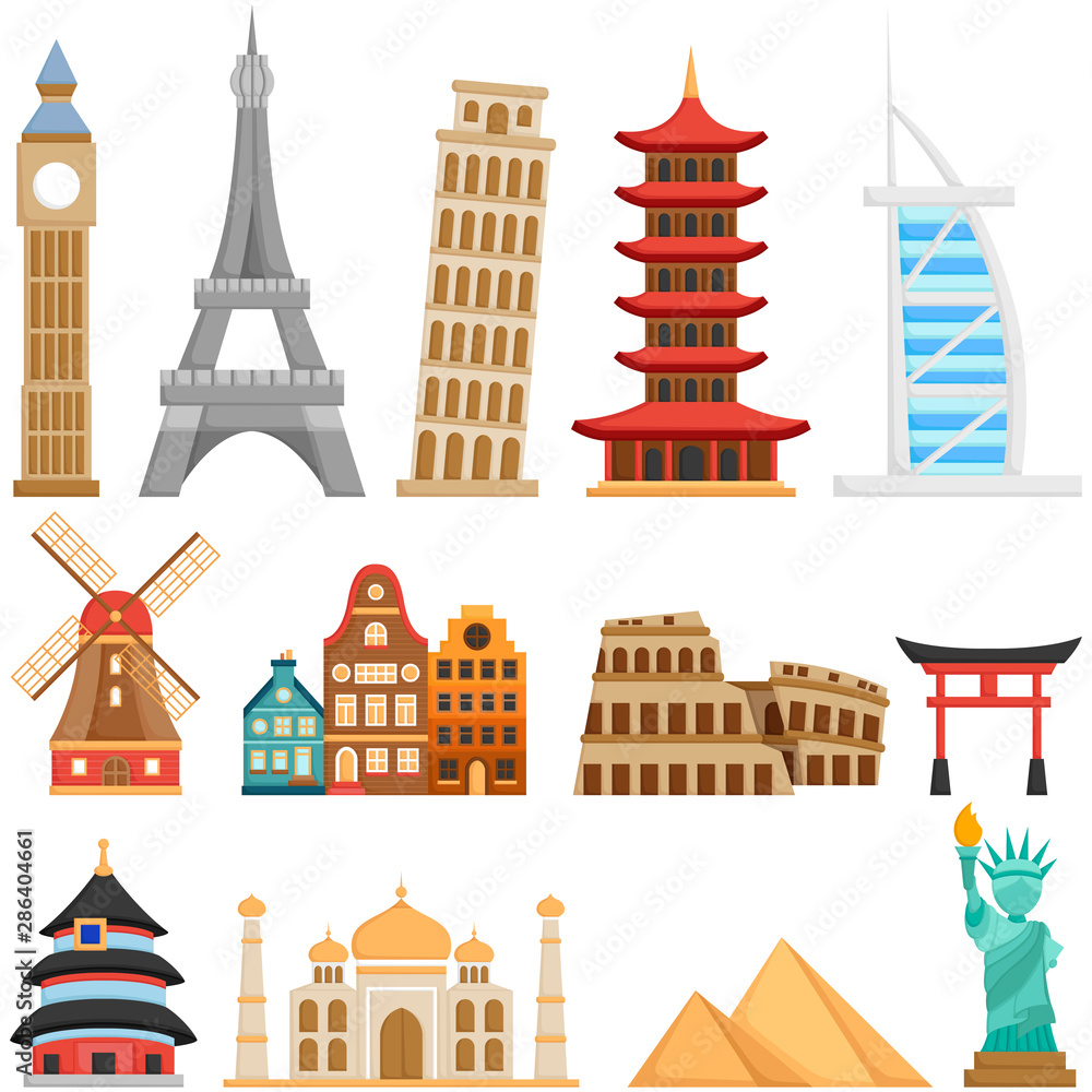 Fototapeta A Vector Set of Cute Landmarks and Buildings all Over The World