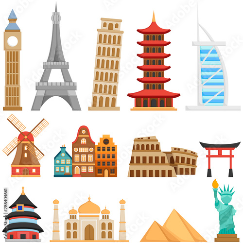 Fotografía A Vector Set of Cute Landmarks and Buildings all Over The World