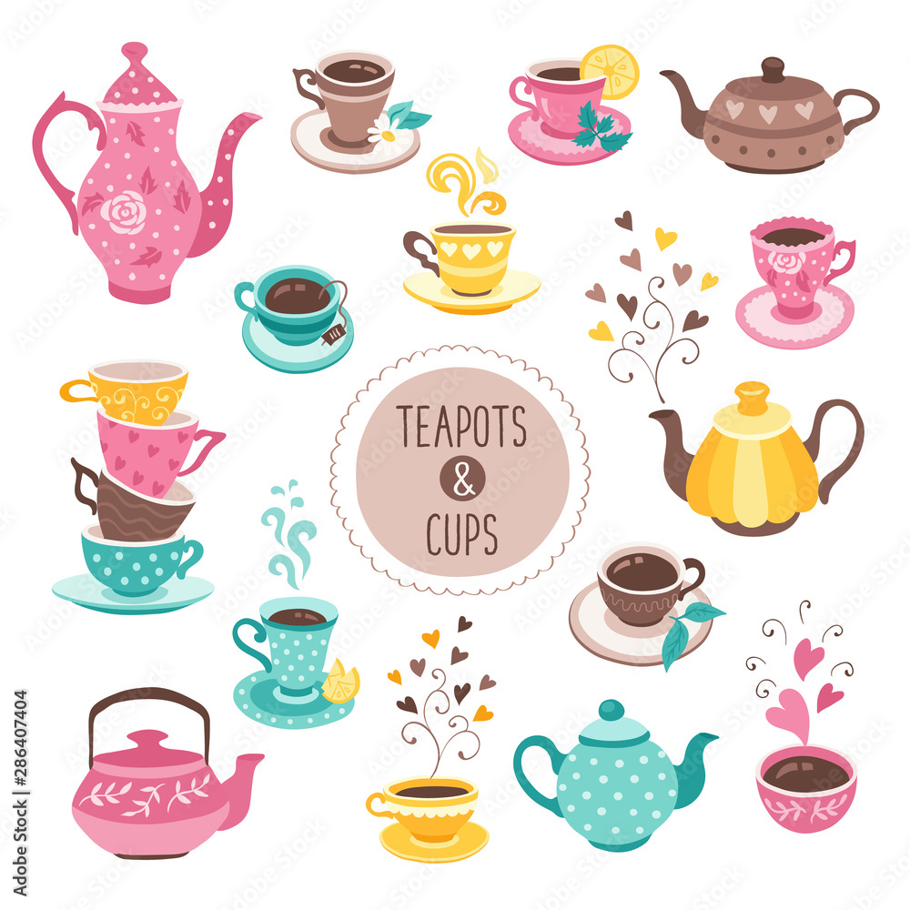 Fototapety, obrazy: teapots and cups collection