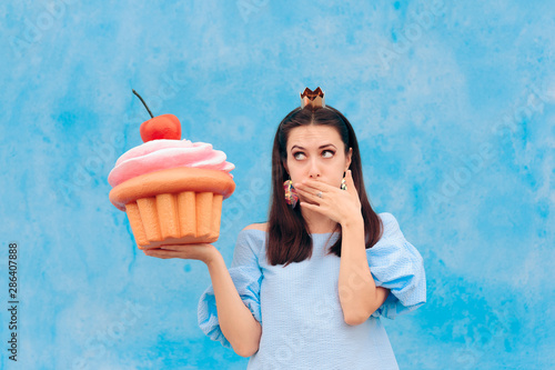 Birthday Woman Eating Cupcake Feeling Sick Canvas Print