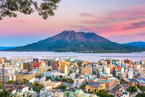Wall Murals Light pink Kagoshima, Japan skyline with Sakurajima Volcano