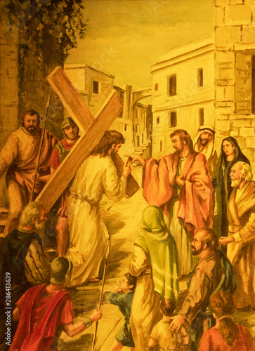 ACIREALE, ITALY - APRIL 10, 2018: The painting of Jesus with the cross in Basilica Collegiata di San Sebastiano by Francesco Mancini Ardizzone (1899 -1901).