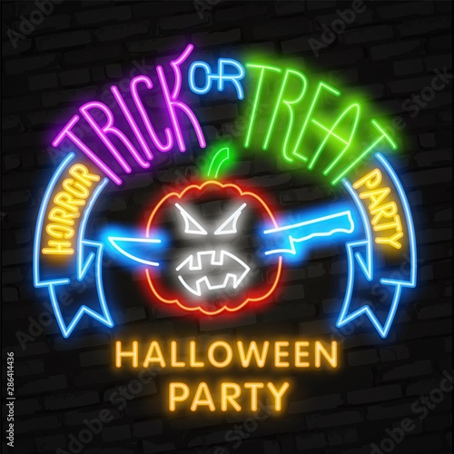 Papiers peints Halloween Halloween neon sign vector. Trick or treat Halloween Design template with ghost and web for banner, poster, greeting card, party invitation, light banner.