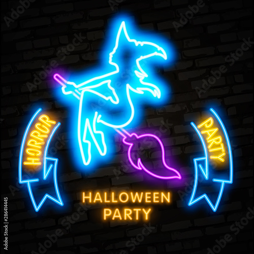 Foto op Plexiglas Halloween Halloween neon sign vector. Trick or treat Halloween Design template with ghost and web for banner, poster, greeting card, party invitation, light banner.
