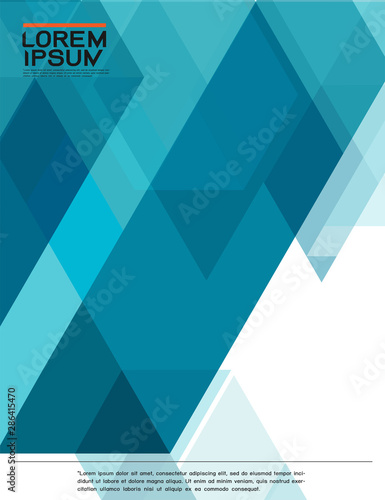 leaflet, brochure, flyer template with abstract modern transparency polygon geometric pattern for business or technology presentation, vector illustration - 286415470