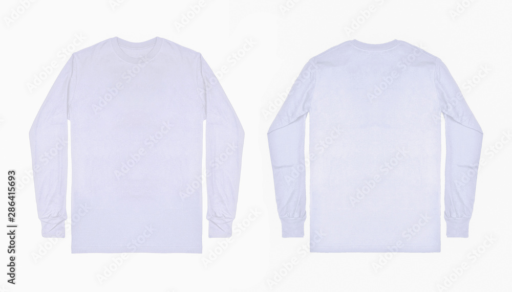 Fototapeta White long sleeve t shirt front and back view isolated on white background. Set of long sleeve tee, ready for your mockup design