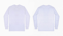 White Long Sleeve T Shirt Front And Back View Isolated On White Background. Set Of Long Sleeve Tee, Ready For Your Mockup Design